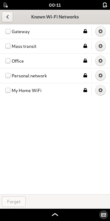 Viewing the known Wi-Fi networks