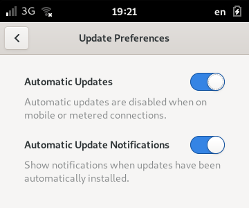 The Update Preferences page